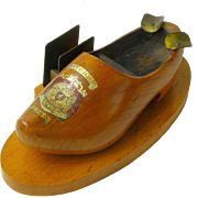 "Decorated Wooden Shoe, Ashtray, Match Holder, ""Belgique"" 1945"