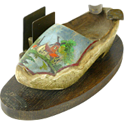 Paint Decorated Wooden Shoe, Ashtray, Cigarette Holder, Match Holder, 1945