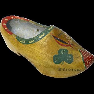 World War II G.I. Souvenir Painted Wooden Shoe, Belgium, 1945