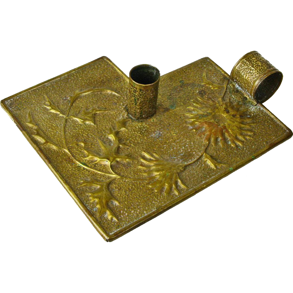 Hammered Brass Arts and Crafts Chamberstick