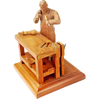 Signed Miniature Carving of Cabinetmaker at Work Bench