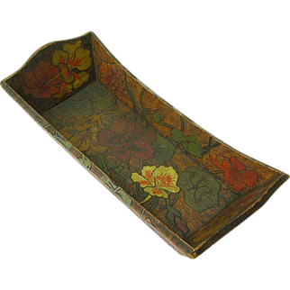 Pyrography and Paint Decorated Wooden Bread Tray w/ Poppies, Ca. 1910