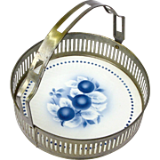 Ceramic Tray with Metallic Nickel-Steel Rim and Swinging Handle, Germany
