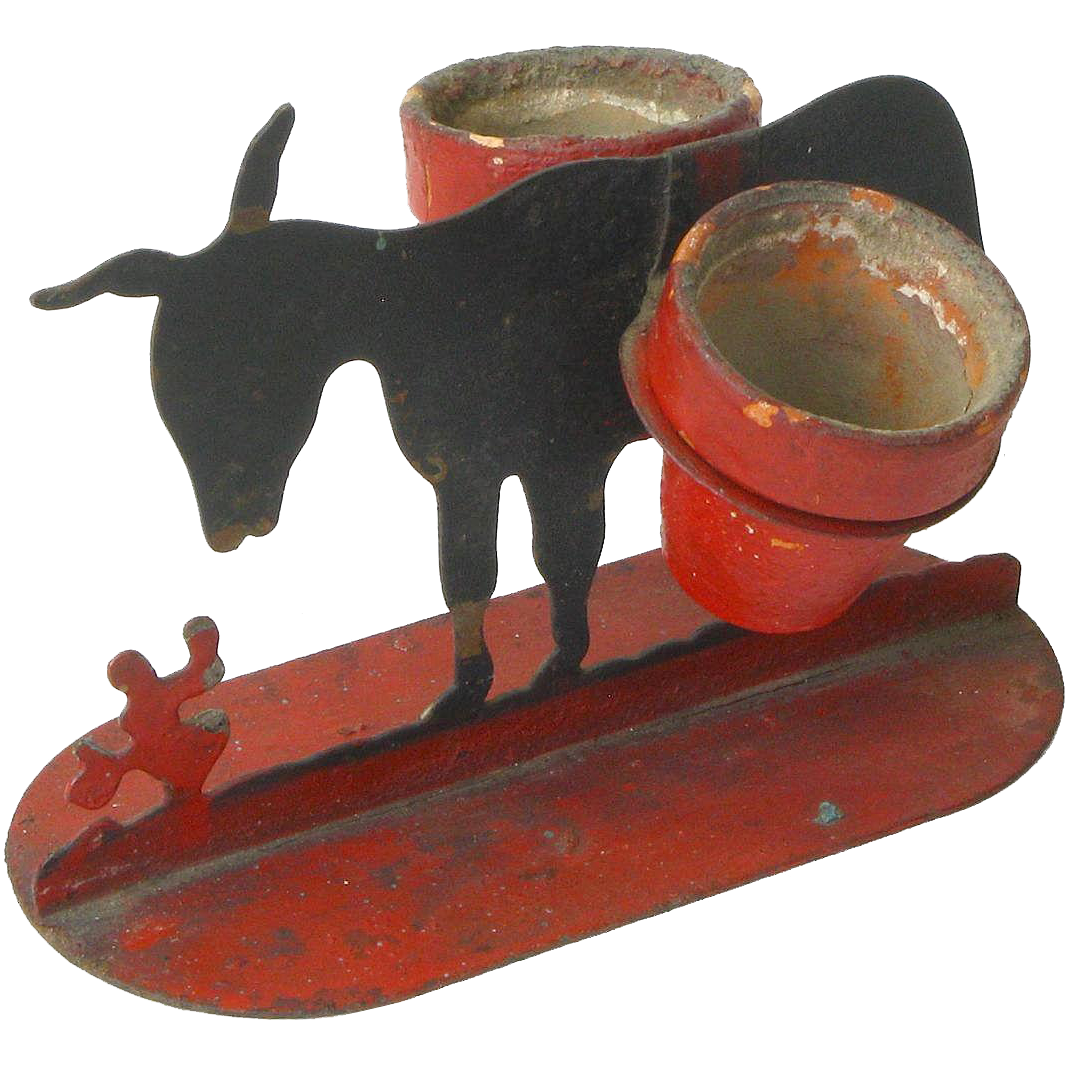 Tabletop Sheet Iron Painted Burro with Match Holders