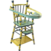 Folk Art Painted Folding Doll High Chair with Game Table, Ca. 1935-40