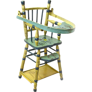 Convertible Doll High Chair with Game Table, Ca. 1935-40, Folk Art Painted