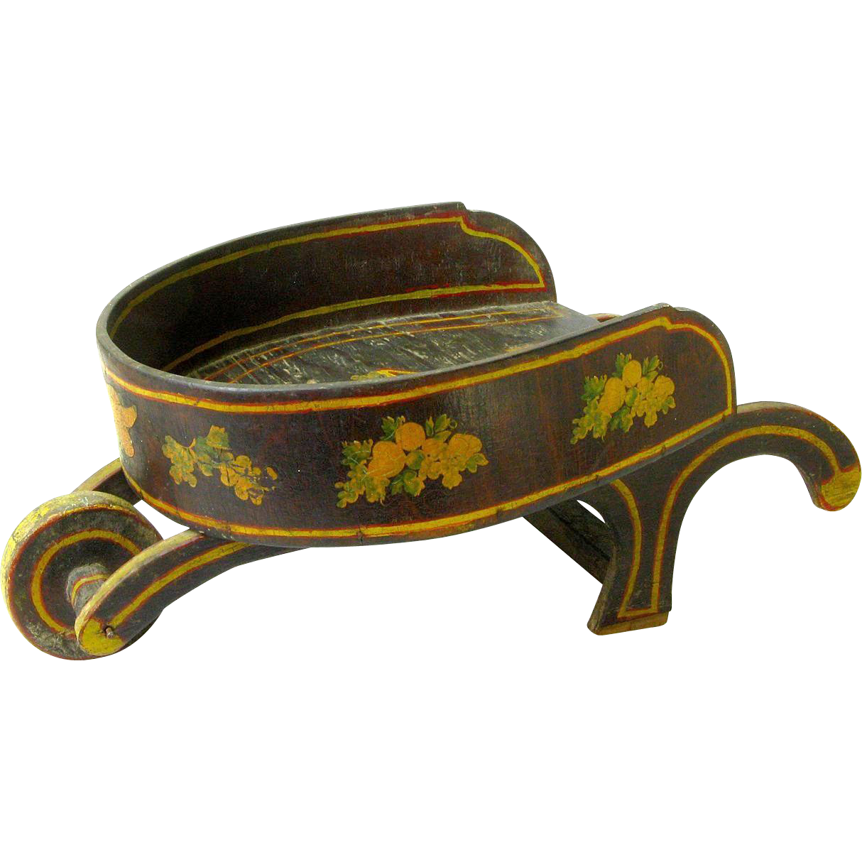 Paint Decorated Miniature Wheel Barrow, Doll Display Item, Ca. 1930