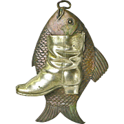 Nickel-Tin and Copper Fish with Boot Match Holder, Wall Mounted