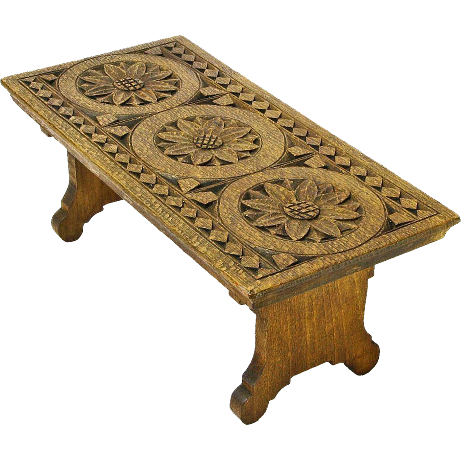 Chip carved english oak collapsible bench ca from