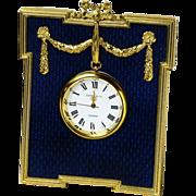 Cobalt Blue Guilloche Enamel Clock, Kitney & Co , London 1992