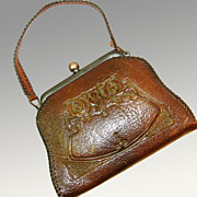 Small Arts & Crafts / Art Nouveau Tooled Leather Jemco Purse, Ca. 1910's