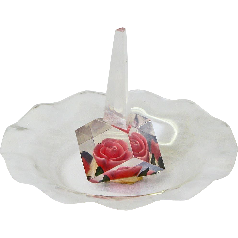 Vintage Lucite Carved and Painted Pink Rose Ring Holder, Ca. 1960