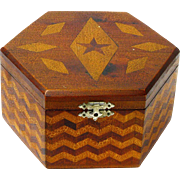 Marquetry Inlaid Hexagonal Folk Art Dresser Box, Ca. 1920-30