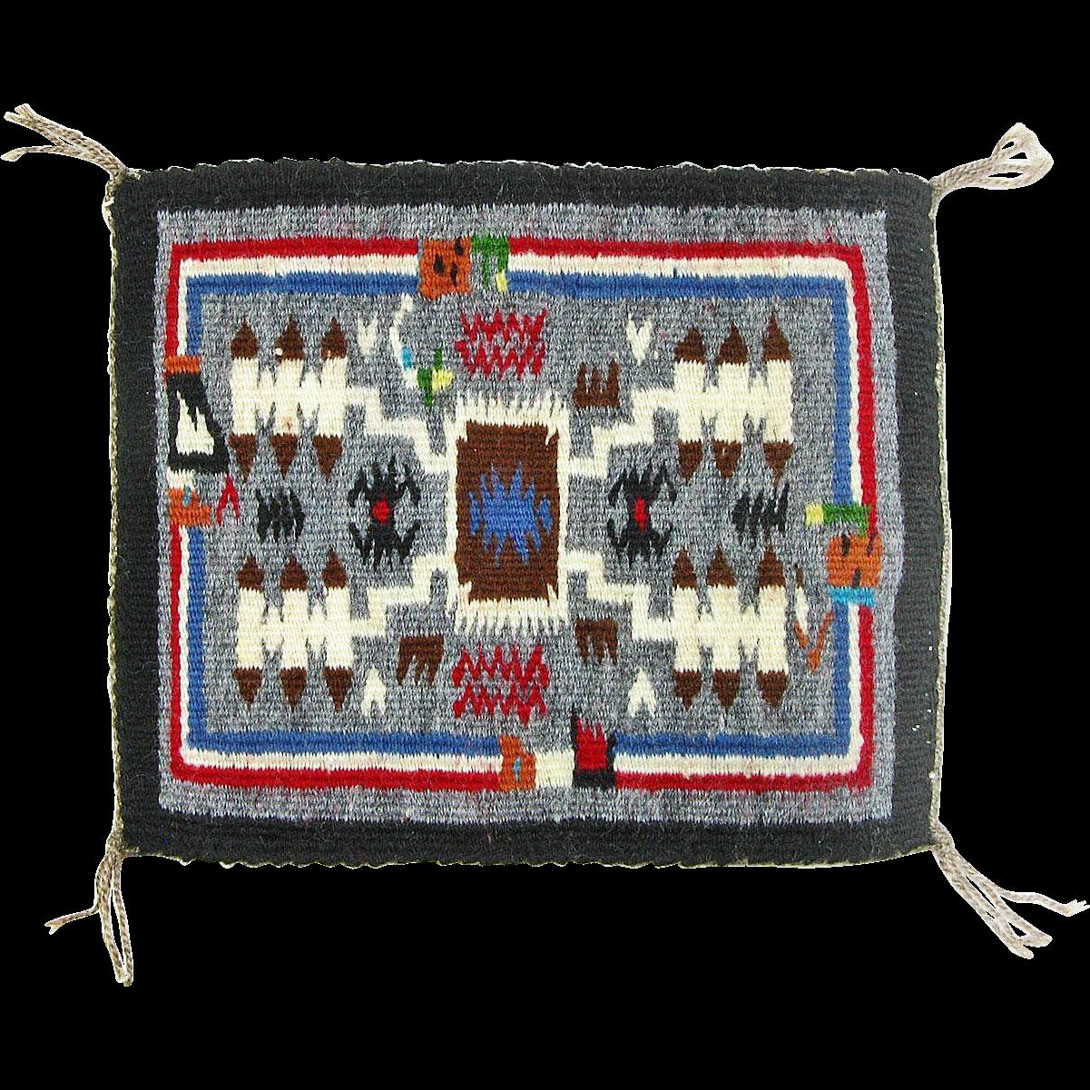 Storm Pattern Rainbow Man Navajo Weaving, Hand Woven Tapestry, Ca. 1970's