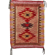 Raised Outline or Twill Navajo Weaving, Rug, Hand Woven