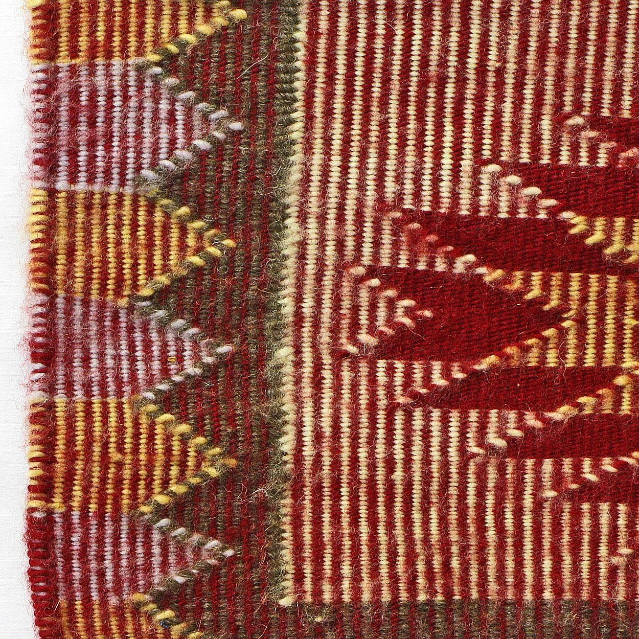 Raised Outline Or Twill Navajo Weaving Rug Hand Woven