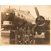"Original Photo of B-17 Bomber Plane, ""Little Gismo"", and Crew, World War II"