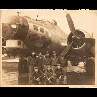 "Original Photo of B-17 Bomber Plane, ""Little Gismo"", and Crew, World War II"