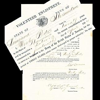 U.S. Colored Troops, Civil War Volunteer Enlistment Document, 1864