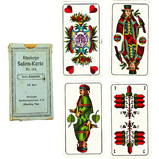 Deck of 32 German Playing Cards in Original Box with Rare Reich Tax Stamp, Pre-WW2