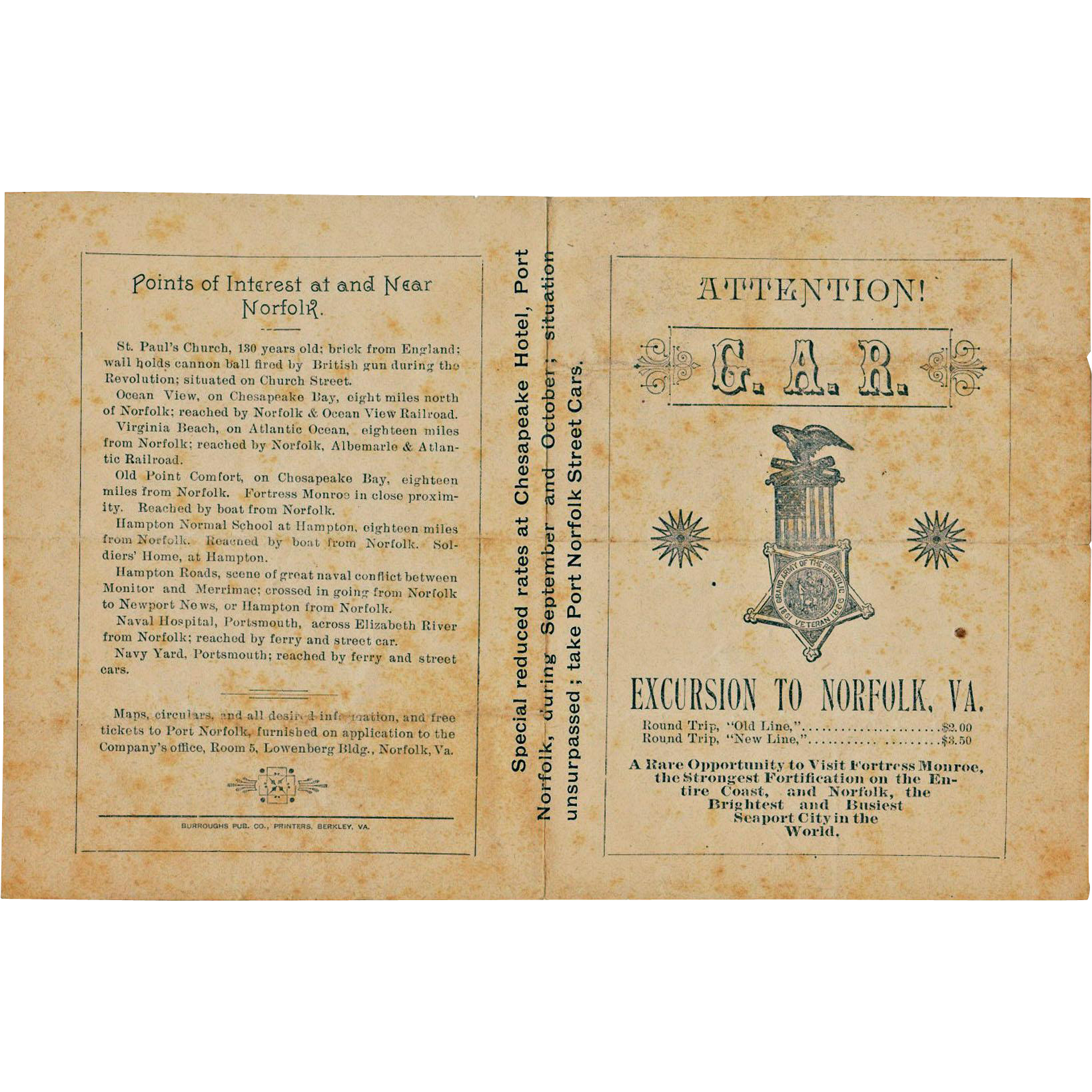 Civil War, GAR, Fortress Monroe Advertising Pamphlet, 1890