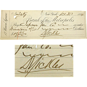 Dan Sickles Signed Check, 1886, Medal of Honor Recipient, Gettysburg
