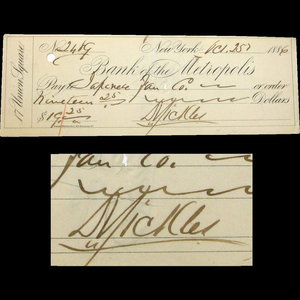 Dan Sickles Autographed Check, 1886, Gettysburg Participant