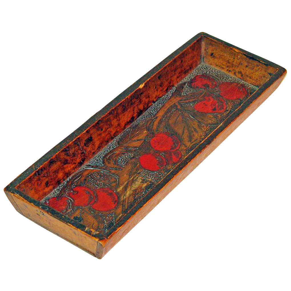 Paint and Pyrography Decorated Wooden Tray w/ Cherry  Bunches, Ca. 1910