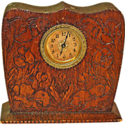 Pyrographic Poppy Decorated Desk Clock, Ca. 1910 - Red Tag Sale Item