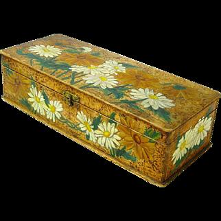 Flemish Art Painted Daisies Glove / Handkerchief Box, Ca. 1900's