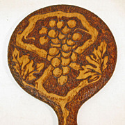 Pyrography Decorated Hand Mirror w/Grape Bunch, Ca. 1910