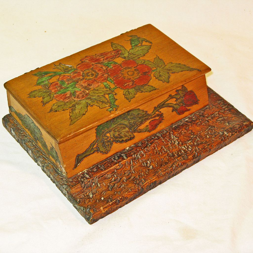 Pyrographic Painted Pen Rest & Inkwell Holder w/Painted Roses