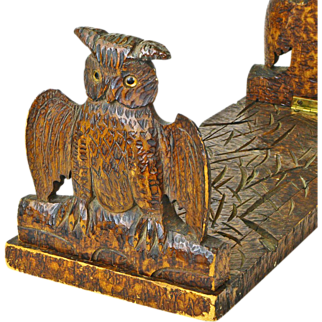 Pyrography Decorated Owl Folding Book Rack