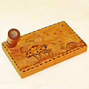 "Pyrographic Turtle Decorated Pen Holder, ""Lois"""