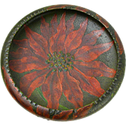 Pyrographic Painted Poinsettia Decorated Wooden Bowl, Ca. 1910