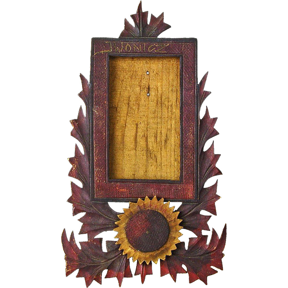 Carved Painted Sunflower Table Frame, 1957, Signed, Poland