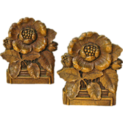 Leafy Floral  Bookends, Syroco, Ca. 1930-40