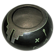 Green-on-Black Hand Made Pot by Than Tsideh, Native American San Ildefonso