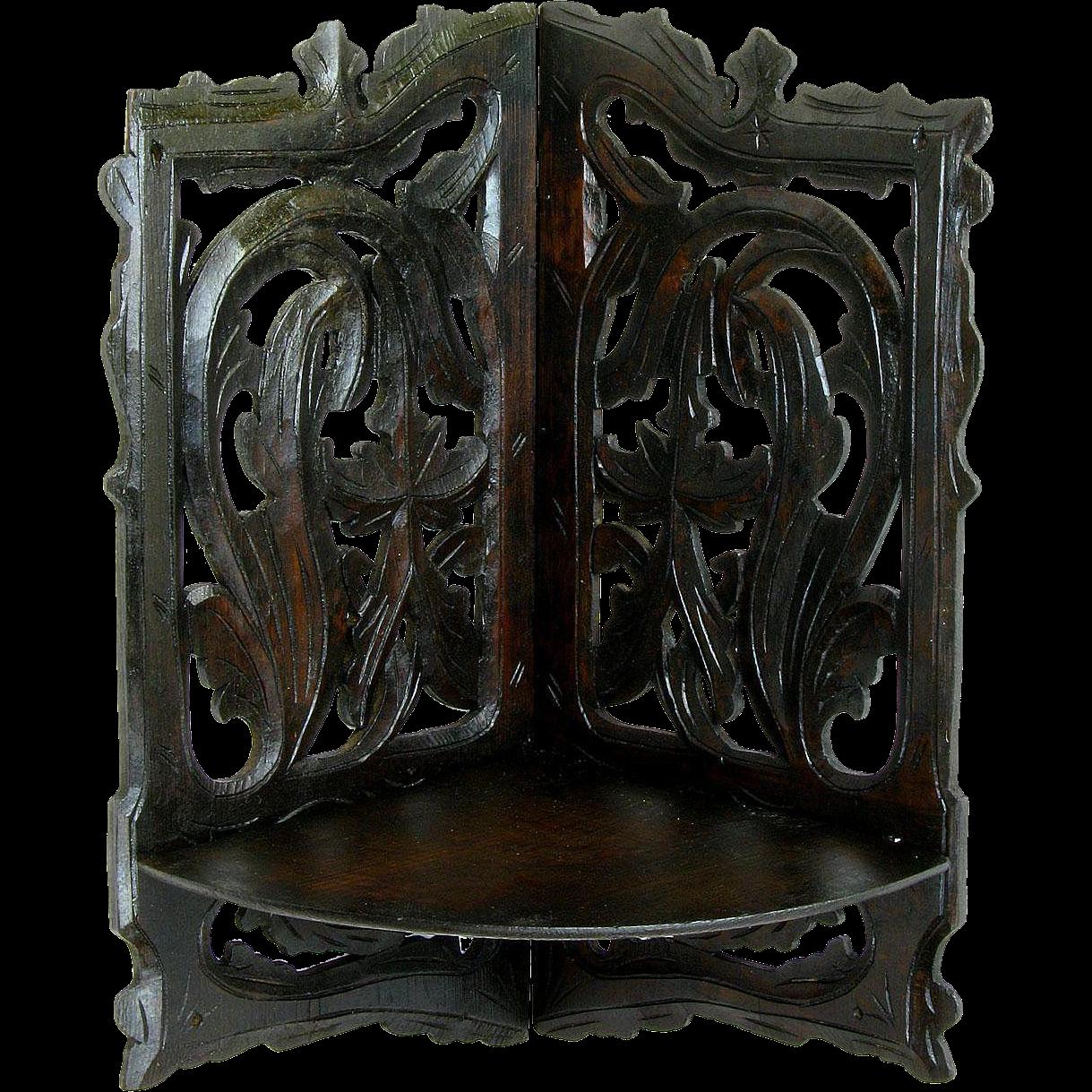 Hand Carved Victorian Folding Corner Shelf