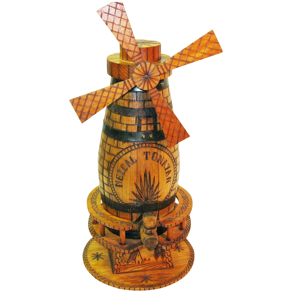 Mezcal Tonayan Advertising Piece, Windmill, Ca. 1950