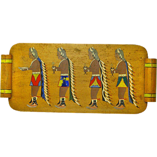 Hand Painted Yei-bei-chi Figures on Tray, Folk Art of American Southwest, Ca. 1930
