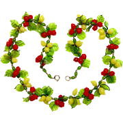 Murano, Italy Necklace - Glass Cherries and Lemons