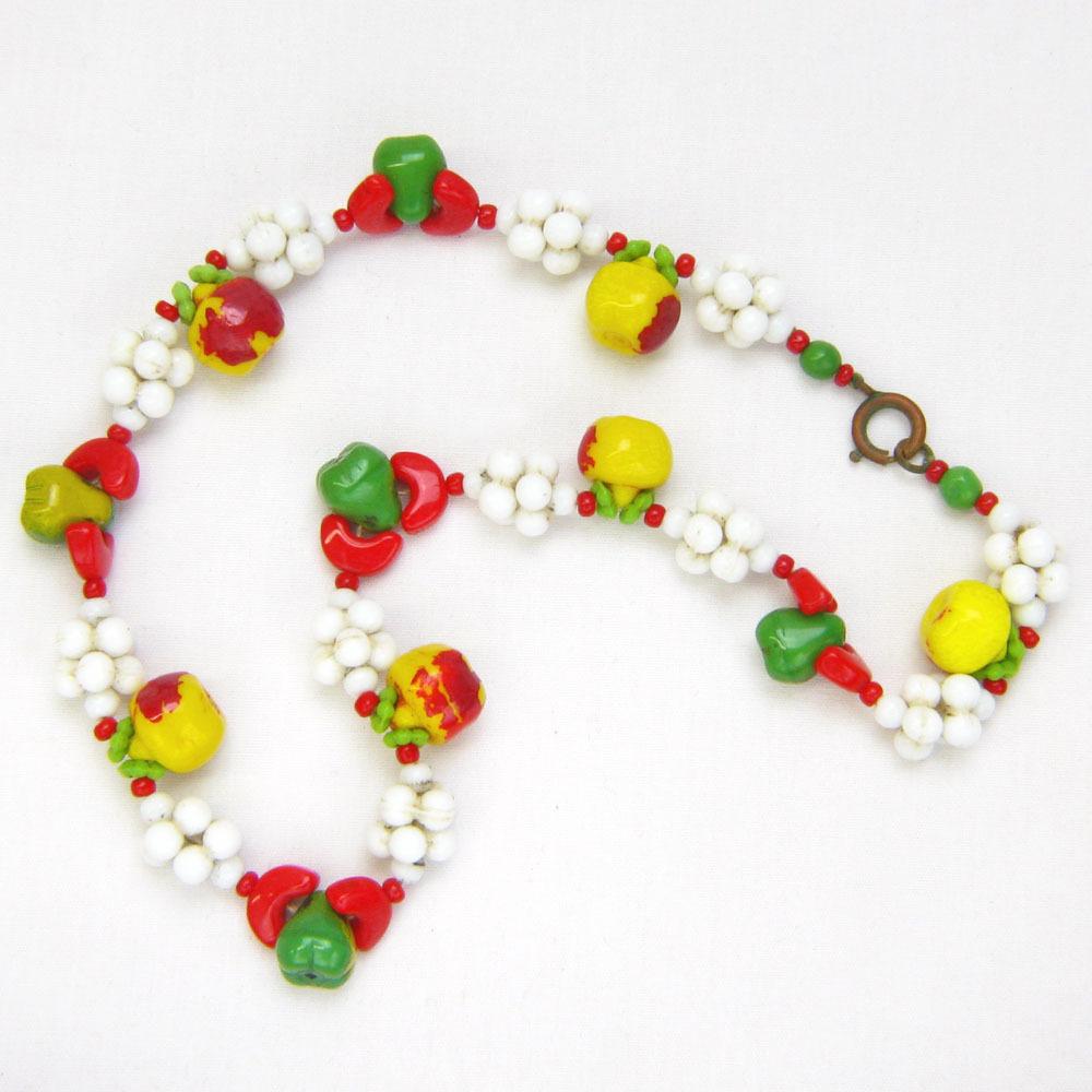 Vintage Fruit Salad Necklace in Japanese Glass / All Original