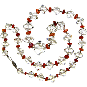 Vintage Hand-Faceted Crystal and Carnelian Necklace , Ca. 1950's