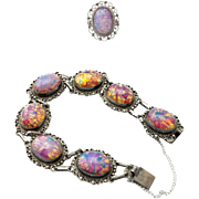 "Offers Considered! Signed ""ArtPlat"" Mexican 925 Silver Bracelet and Ring, Dichroic Glass Cabochons"