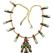 Santo Domingo Thunderbird Necklace, Depression Era, with Paper Work