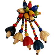 Pin with Colorful Little Wooden Dangles