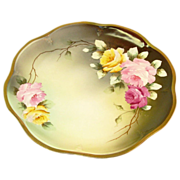 "Hand Painted Royal Vienna Plate of Roses, Signed ""L. Renault"""