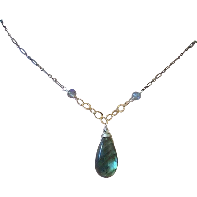 Labradorite Silver Necklace Solitaire Mixed Metals Camp Sundance Gem Bliss
