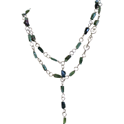 Tourmaline Necklace, handmade gem links, Silver Necklace Gem Bliss, October Birthstone.